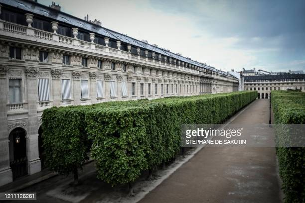 This picture shows the closed Palais Royal garden on April 27, 2020 in Paris, on the 42nd day of a strict lockdown in France to stop the spread of...