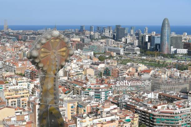 This picture shows the current situation of the works in the Sagrada Familia basilica designed by Spanish architect Antoni Gaudi in Barcelona on...