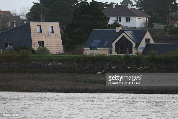 This picture shows the dam which protect hundreds of homes against high tides in BarnevilleCarteret northwestern France on December 8 2015 / AFP /...