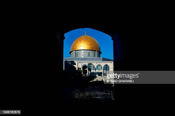 TOPSHOT This picture shows the Dome of the Rock at the alAqsa mosque compound in the Jerusalem's Old City on July 27 after the site was reopened...