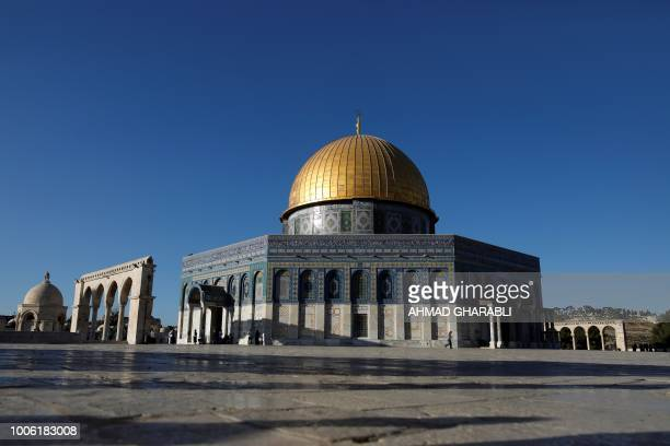 This picture shows the Dome of the Rock at the alAqsa mosque compound in the Jerusalem's Old City on July 27 after the site was reopened Israeli...