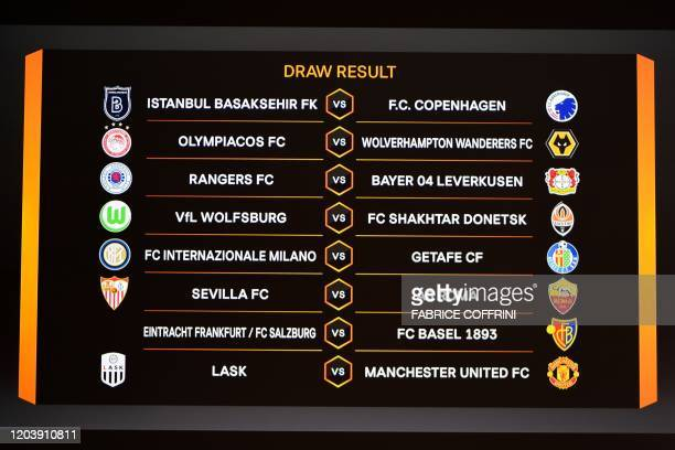 This picture shows the draw result during the UEFA Europa League football cup's round of 16 draw ceremony in Nyon on Febraury 28, 2020.