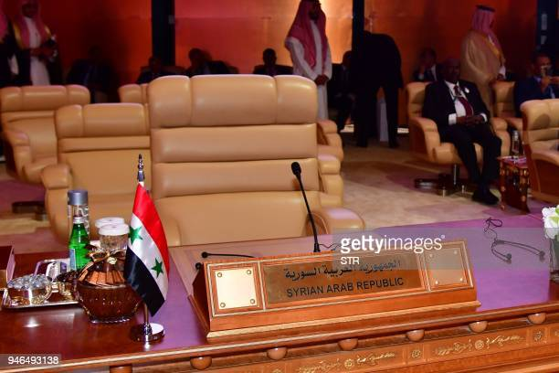 This picture shows the empty chair of the Syrian Arab Republic during the 29th Summit of the Arab League at the Ithra center in Dhahran Eastern Saudi...
