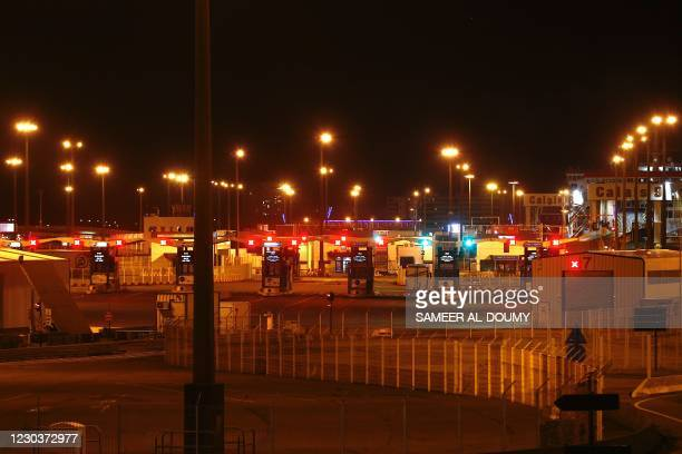 This picture shows the empty harbour of Calais, Northern France, on December 31 on the day the Brexit transition period ends and Britain leaves the...