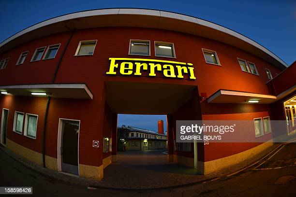 This picture shows the entrance of the Ferrari factory on December 5 2012 in Maranello The Ferrari 45 buildings's factory where more than 3000...