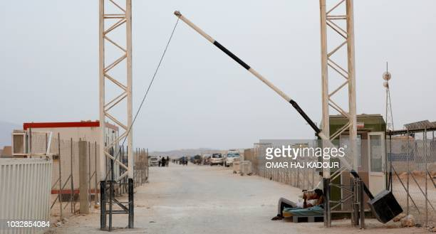 This picture shows the entrance to camp 'Hope' in the Syrian village of Kafr Lusein north of the Bab alHawa border crossing on September 13 2018