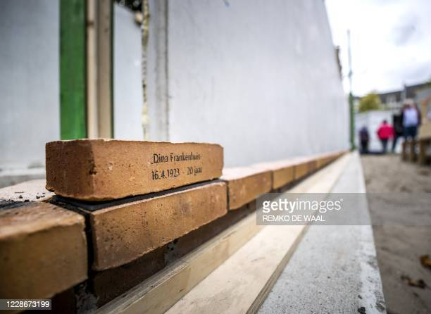 This picture shows the first memorial stone laid by Jacqueline van Maarssen a childhood friend of Anne Frank at the Holocaust Names Memorial in...
