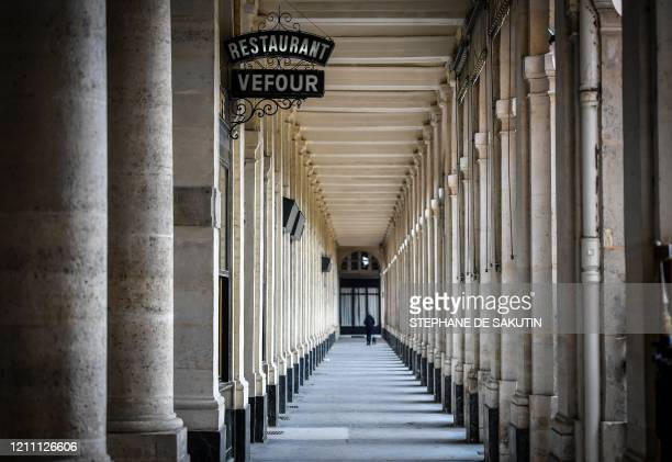This picture shows the gallery in the closed Palais Royal garden on April 27 2020 in Paris on the 42nd day of a strict lockdown in France to stop the...