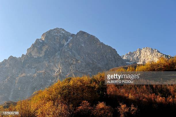 This picture shows the Gran Sasso mountain where is located the Gran Sasso National Laboratory on November 14, 2011. Scientists who threw down the...