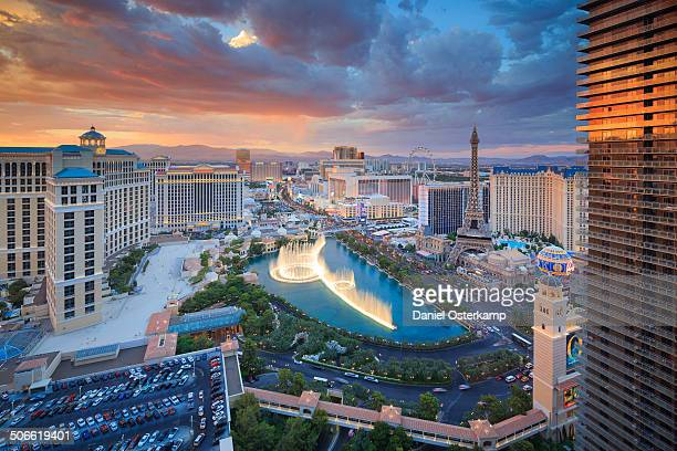 This picture shows the heart of the Las Vegas strip during sunset. There is a lot of action going on in this picture including a beautiful evening...