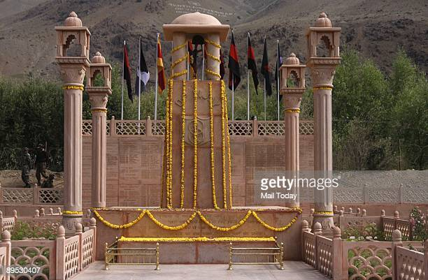 This picture shows the Kargil war memorial in the backdrop of recaptured post of Tololing in Drass July 26 is the tenth anniversary of the Kargil war
