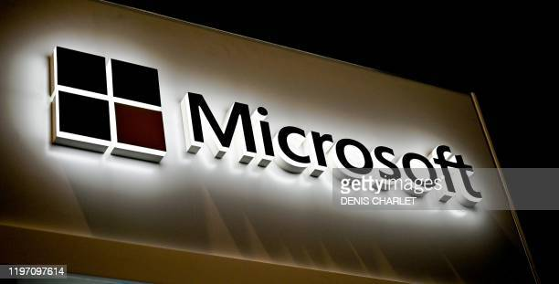 This picture shows the Microsoft logo at the International Cybersecurity Forum in Lille on January 28, 2020.