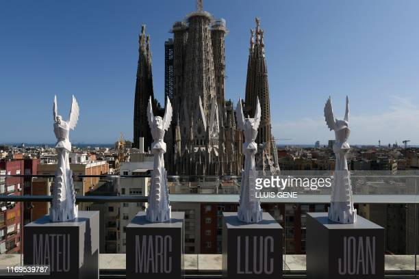 This picture shows the models of four of the towers to be build in the Sagrada Familia during the presentation of the current situation of the works...