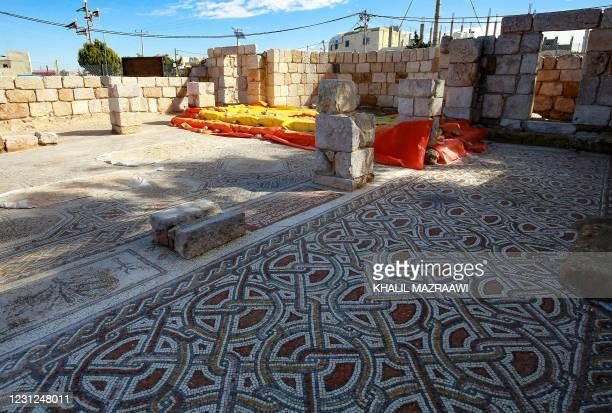 This picture shows the mosaic flooring of the Saint Mary church, built in 543 AD, the restoration of which was recently completed by workers employed...