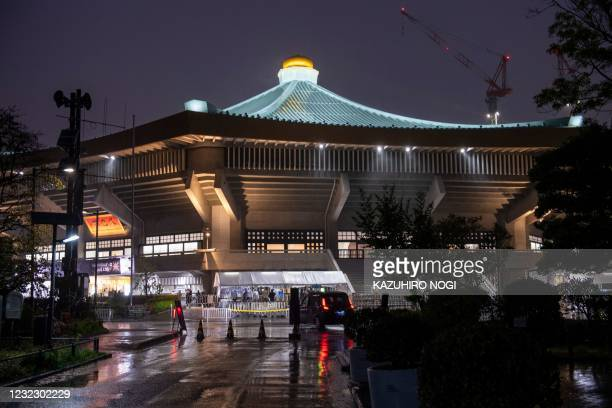 This picture shows the Nippon Budokan, venue for the judo and karate events, 100 days till the start of the Tokyo 2020 Olympic Games in Tokyo on...