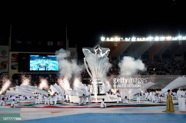 This picture shows the opening ceremony prior to the 2019 AFC Asian Cup football game between United Arab Emirates and Bahrain at the Zayed sports...