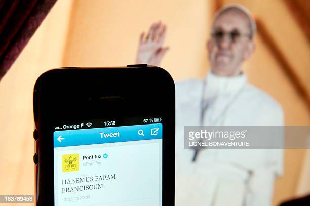 This picture shows the Pope Francis Twitter handle @pontifex taken on March 15 2013 in Paris Argentina's Jorge Mario Bergoglio was elected Pope...