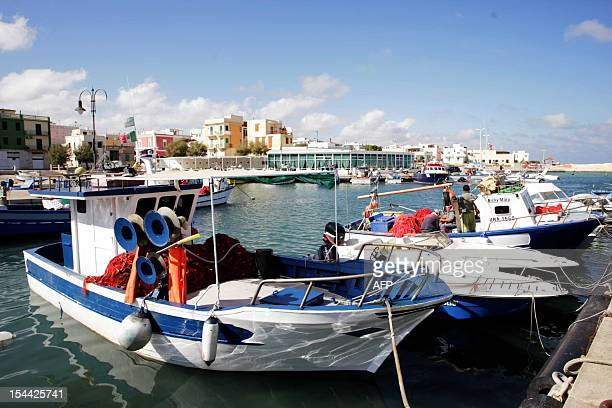 This picture shows the port in Fasano in the southern Italian region of Puglia near the Bagno Egnazia resort where actors Justin Timberlake and...