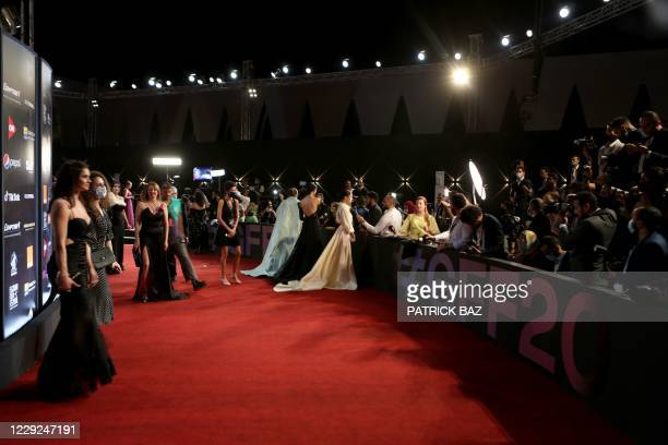 This picture shows the red carpet at the opening ceremony of the 4th edition of El Gouna Film Festival, in the Egyptian Red Sea resort of el Gouna on...