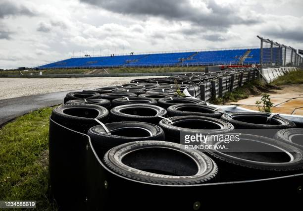 This picture shows the runway edges of the Circuit Zandvoort during a tour for the media in Zandvoort, western Netherlands, on August 9, 2021. - The...
