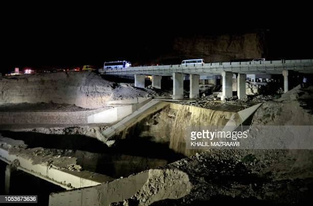 This picture shows the site of a bus accident near the Dead Sea in Jordan on October 25 2018 Flash floods in Jordan swept away a school bus on...