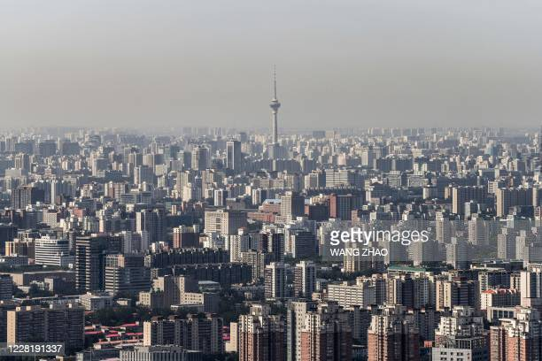 This picture shows the skyline of Beijing from the top of the Beijing Olympic Tower on August 25, 2020.