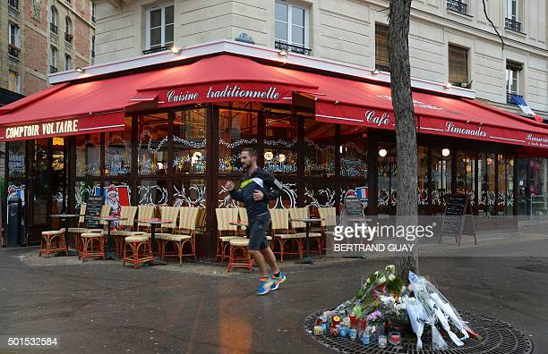 TOPSHOT This picture shows the terrace of the brasserie Le Comptoir Voltaire near Place de la Nation in eastern Paris on the day of its reopening on...
