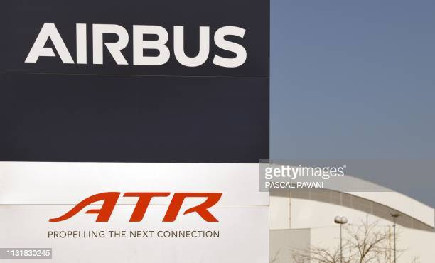 This picture shows the two logos of ATR and Airbus on March 20 2019 in SaintMartin du Touch Established in November 1981 ATR is a joint partnership...