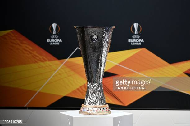 This picture shows the UEFA Europa League football cup trophy prior to the cup's round of 16 draw ceremony in Nyon on Febraury 28 2020