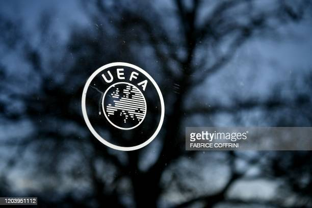 This picture shows the UEFA logo at the organization's headquarters in Nyon on Febraury 28 2020
