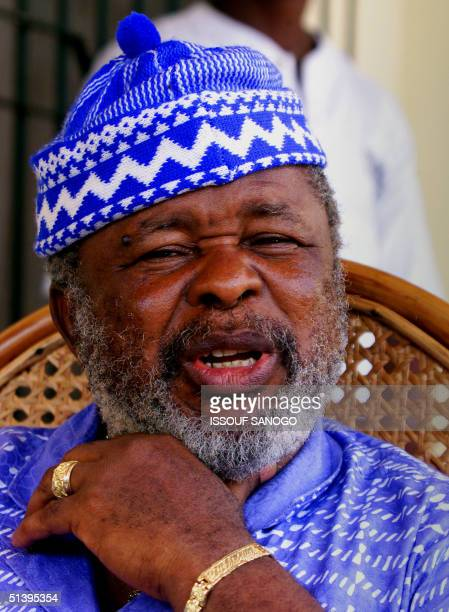 This picture taken 05 May 2000 shows Sierra Leone former rebel leader caporal Foday Sankoh during a press conference in Freetown Speaking under...