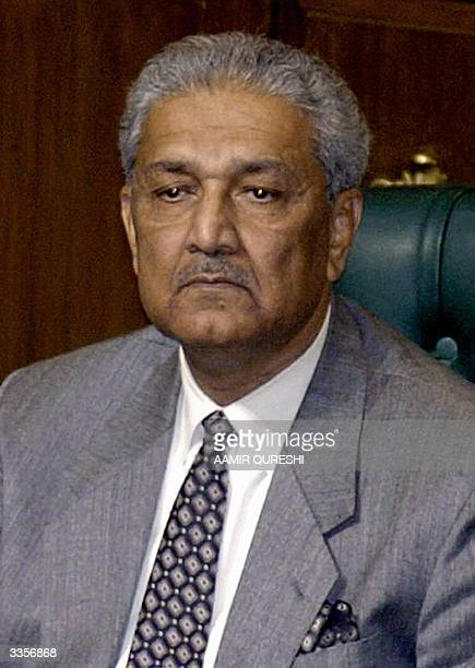 This picture taken 06 January 2004 shows the father of Pakistan's nuclear bomb Abdul Qadeer Khan during the South Asian Association for Regional...
