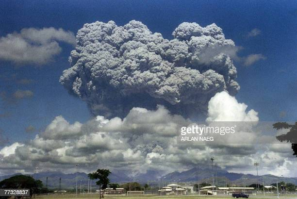 STORY PHILIPPINESLIFESTYLETOURISMVOLCANOFEATURE This picture taken 12 June 1991 shows a giant mushroom cloud of steam and ash exploding out of Mount...