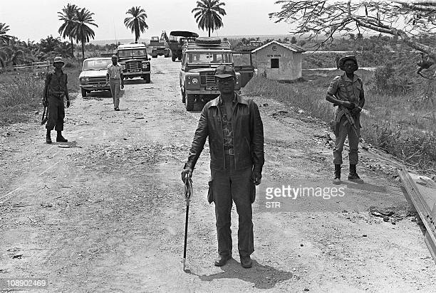 This picture taken 31 August 1975 shows Holden Roberto one of the fathers of Angola's independence in Sassalemsa 32 kms north of Luanda Roberto died...