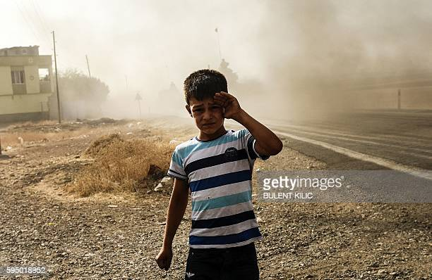 This picture taken around 5 kilometres west from the Turkish Syrian border city of Karkamis in the southern region of Gaziantep on August 25 2016...