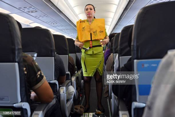 This picture taken at the Jakarta airport in Tangerang Banten province on the outskirt of the capital on January 17 2019 shows an Indonesian flight...