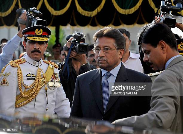 This picture taken August 18, 2008 shows Pakistani President Pervez Mushararf leaving the presidency after his resignation in Islamabad. Leaders of...