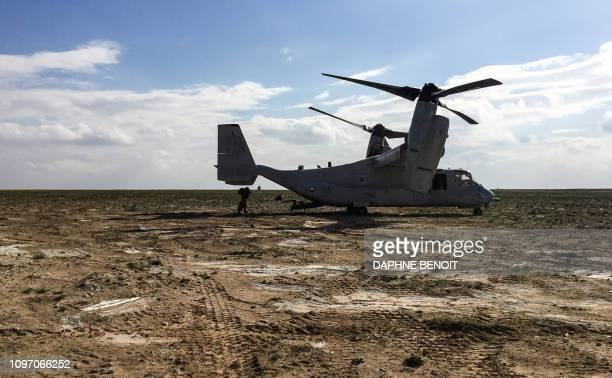 This picture taken February 9 2019 shows a US Marine Corps V22 Osprey on the ground at a French artillery forward operating base near alQaim in...