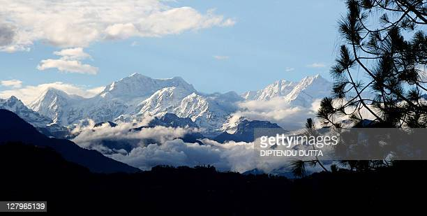 This picture taken from Kaluk Bazaar in the Indian state of Sikkim 11 May 2007 shows a view of mount Kanchenjunga Kangchenjunga which tanslates as...