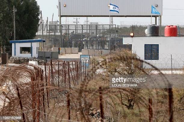 This picture taken from Syria shows the United Nations peacekeepers bunkers and Israeli annexedGolan Heights part of the Quneitra border crossing...