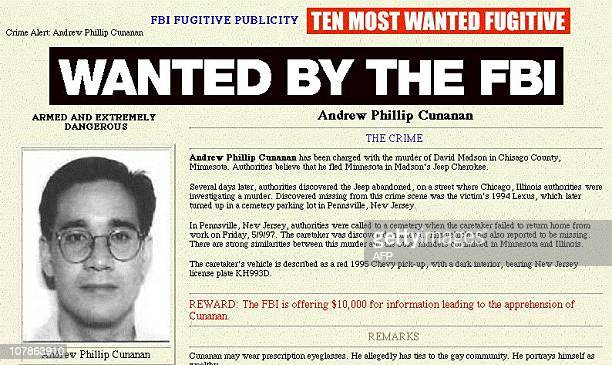 This picture taken from the FBI web site on the Internet 16 July shows Andrew Phillip Cunanan, the sole suspect in the murder of Italian fashion...