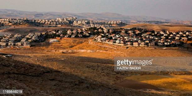 TOPSHOT This picture taken from the Palestinian village of alSawahre near the village of Abu Dis in the occupied West Bank near East Jerusalem on...