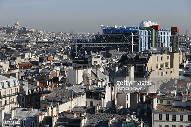 This picture taken from the roof of Paris' city hall on September 11 2015 shows the Centre Pompidou also known as Beaubourg art center and the...