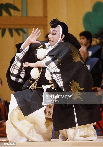 This picture taken in 1985 shows a kabuki performance by Japanese kabuki star Ichikawa Danjuro in Tokyo Japanese kabuki star Ichikawa Danjuro has...
