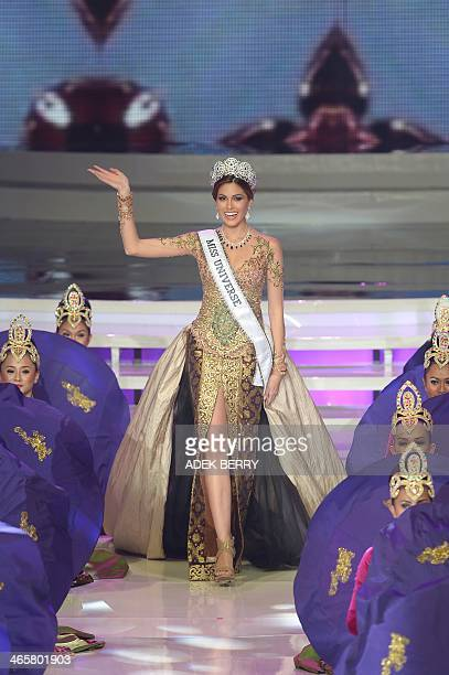 This picture taken in Jakarta on January 29 2014 shows Miss Universe Maria Gabriela Isler from Venezuela attending a grand final of the Miss...