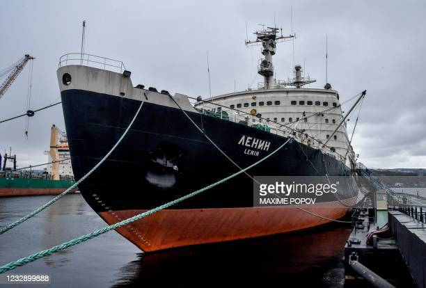 This picture taken in Murmansk, northwest Russia, on May 14, 2021 shows the Soviet nuclear-powered icebreaker 'Lenin' moored in the port. -...