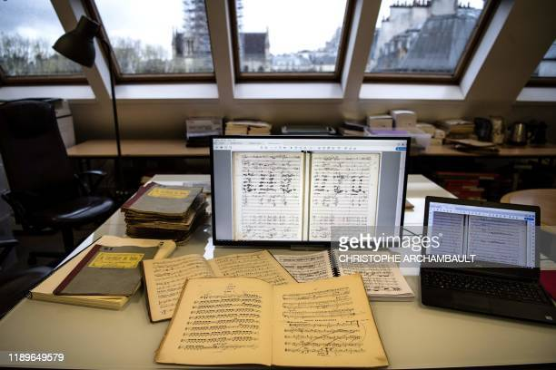 This picture taken in Paris on November 18, 2019 shows an annotated musical score at the Paris offices of the French Centre of Romantic Music . -...