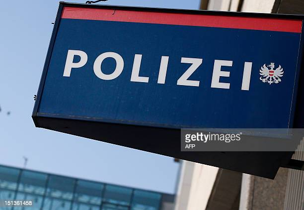 This picture taken in Vienna on September 6 2012 shows a sign of the Polizei Austria's Police department AFP PHOTO / ALEXANDER KLEIN / AFP /...
