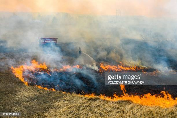 This picture taken on April 10 shows a field fire burning at a 30-kilometer Chernobyl exclusion zone, not far from the nuclear power plant.