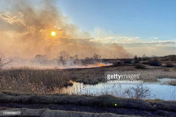 This picture taken on April 10 shows a forest and field fire burning at a 30-kilometer Chernobyl exclusion zone, not far from the nuclear power plant.